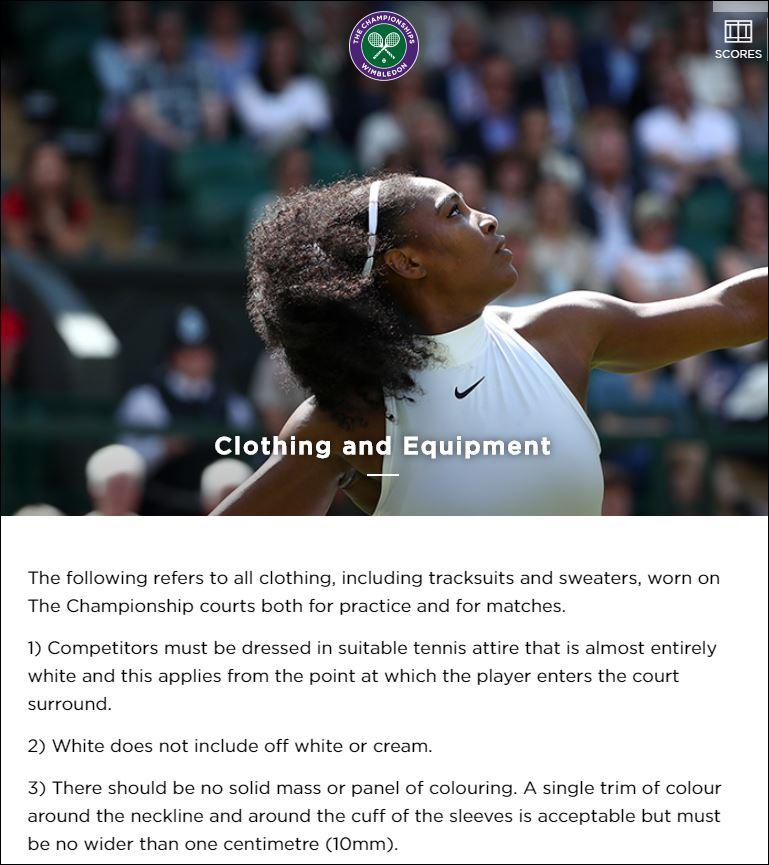 Wimbledon's all whites rule