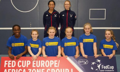Great Britain's Fed Cup Captain Anne Keothavong and Team Bath player Anna Smith joined local tennis players at the University of Bath