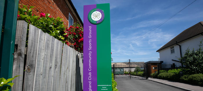 The entrance to the AELTC Community Sports Ground