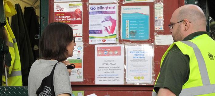 The booking hut on Highbury Fields