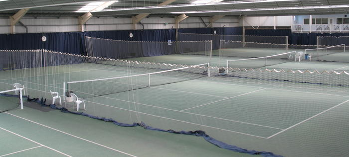 The indoor courts at Redbridge Tennis Centre