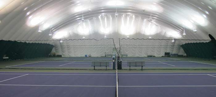 The indoor courts at AELTC Community Sports Ground